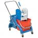 Stumdomas vežimėlis. Nugręžėjas, du plastikiniai 25 l kibirai, rankena vežimėliui stumti