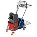 Dviejų kibirų 15l. vežimėlis su nugręžtuvu, metaliniu krepšeliu įrankiams ir laikikliu šiukšlių maišui.